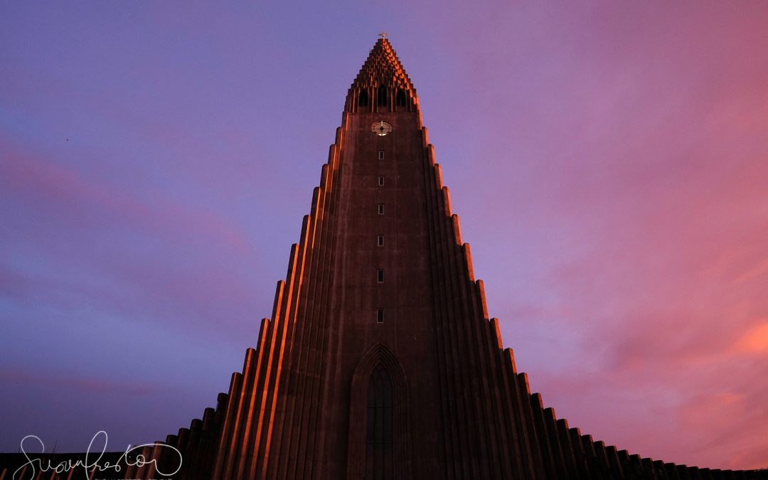 Hallgrimskirkja Lutheran Church at Sunset