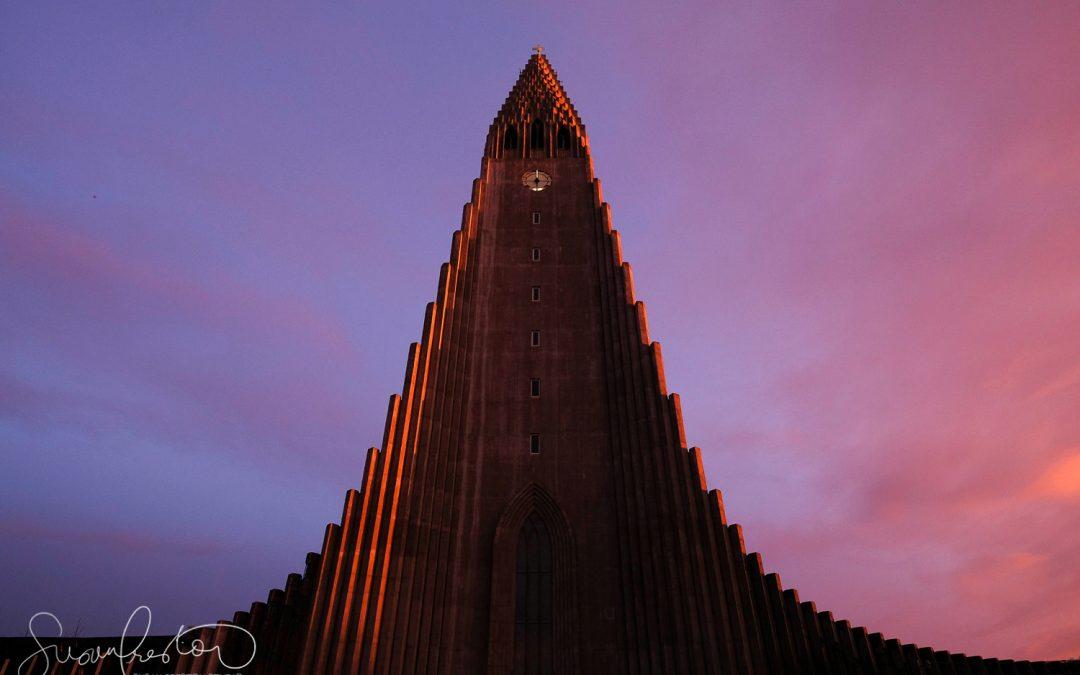 Hallgrimskirkja Lutheran Church at Sunset